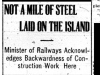 Limited Railway Work on Island