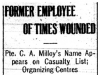 Pte Milloy Wounded; Times Worker