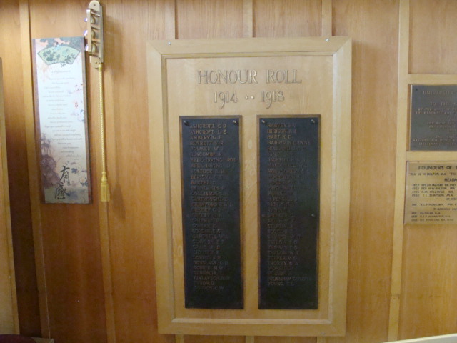 Honour Board in St. Michaels University School Chapel