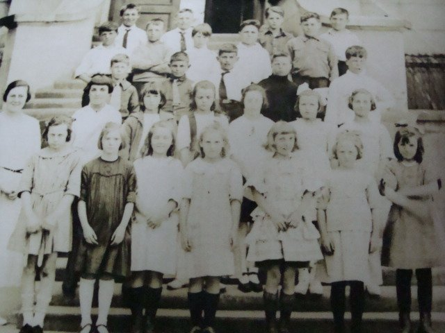 Teachers and Pupils in front of Lampson Street Elementary