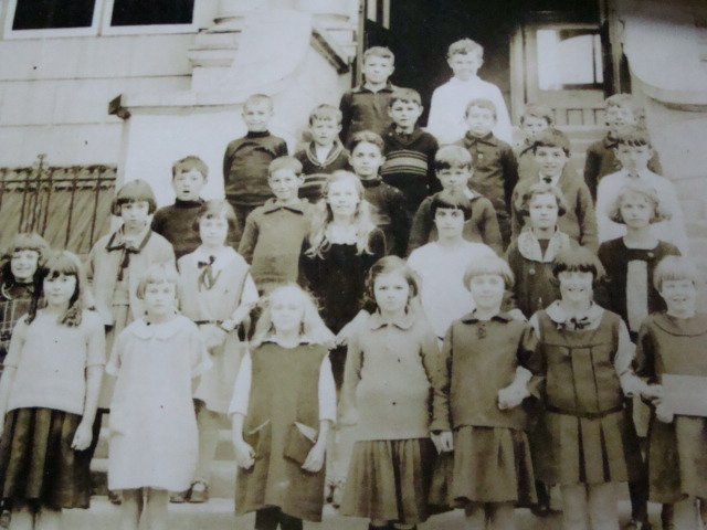 Children Assembled on the Steps of Lampson Elementary
