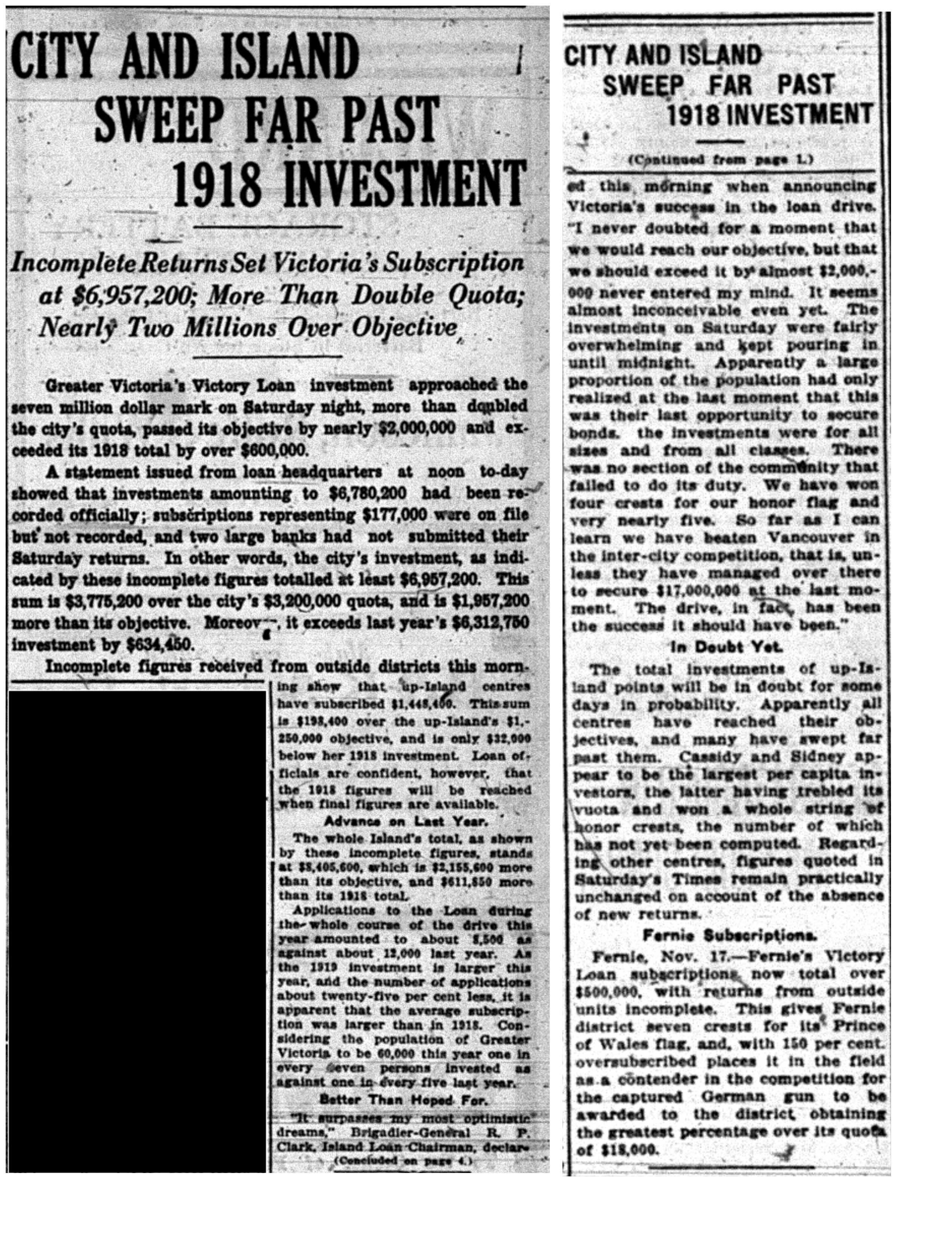 """City And Island Sweep Far Past 1918 Investment"""