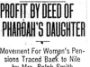"""Profit By Deed of Pharoah's Daughter: Movement for Women's Pensions Traced Back to Nile by Mrs. Ralph Smith"""