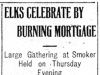 """Elks Celebrate By Burning Mortgage"""