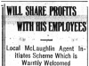 """Will Share Profits With His Employees"""