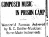 """Composed Music In Prison Camp"""