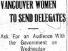 """Vancouver Women to Send Delegates"""
