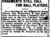 """Fragments Still Call For Ball Players"""