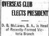 """Overseas Club Elects President"""