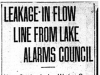 """Leakage In Flow Line From Lake Alarms Council"""