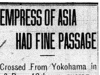 """Empress of Asia Had Fine Passage"""