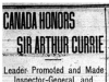 """Canada Honours Sir Arthur Currie"""