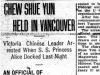 """Chew Shue Yun Held in Vancouver"""