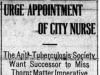 """Urge Appointment of City Nurse"""