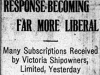 """Response Becoming Far More Liberal: Many Subscriptions Received by Victoria Shipowners Limited, Yesterday"""