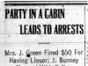 """Party in Cabin Leads to Arrests"""