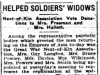 """Helped Soldiers' Widows: Next of Kin Association Vote Donations to Mrs. Freeman and Mrs. Hallett"""