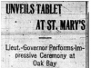 """Unveils Tablet At St. Mary's"""
