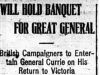 """Will Hold Banquet for Great General"""