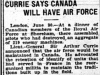 """Currie Says Canada Will Have Air Force"""