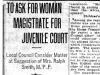 """To Ask for Woman Magistrate For Juvenile Court"""