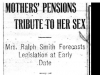 """Mothers' Pensions Tribute To Her Sex"""