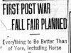 """First Post War Fall Fair Planned"""