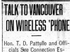 """Talk to Vancouver On Wireless 'Phone"""