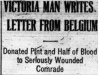 """Victoria Man Writes Letter from Belgium"""