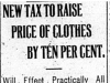 """New Tax to Raise Price of Clothes By Ten Per Cent"""