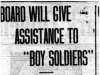"""""""Board Will Give Assistance to """"Boy Soliders"""""""""""