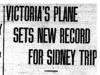 """Victoria's Plane Sets New Record for Sidney Trip"""