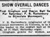 """Show Overall Dances: First Gingham and Denim Ball Set for Saturday; F.B. Rattenbury to Stimulate Movement"""