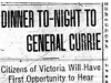 """Dinner To-Night To General Currie"""