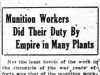 """Munition Workers Did Their Duty By Empire in Many Plants"""