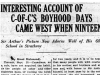 """Interesting Account of C-of-C's Boyhood Days, Came West When Nineteen"""