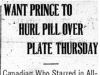"""Want Prince to Hurl Pill Over Plate Thursday"""