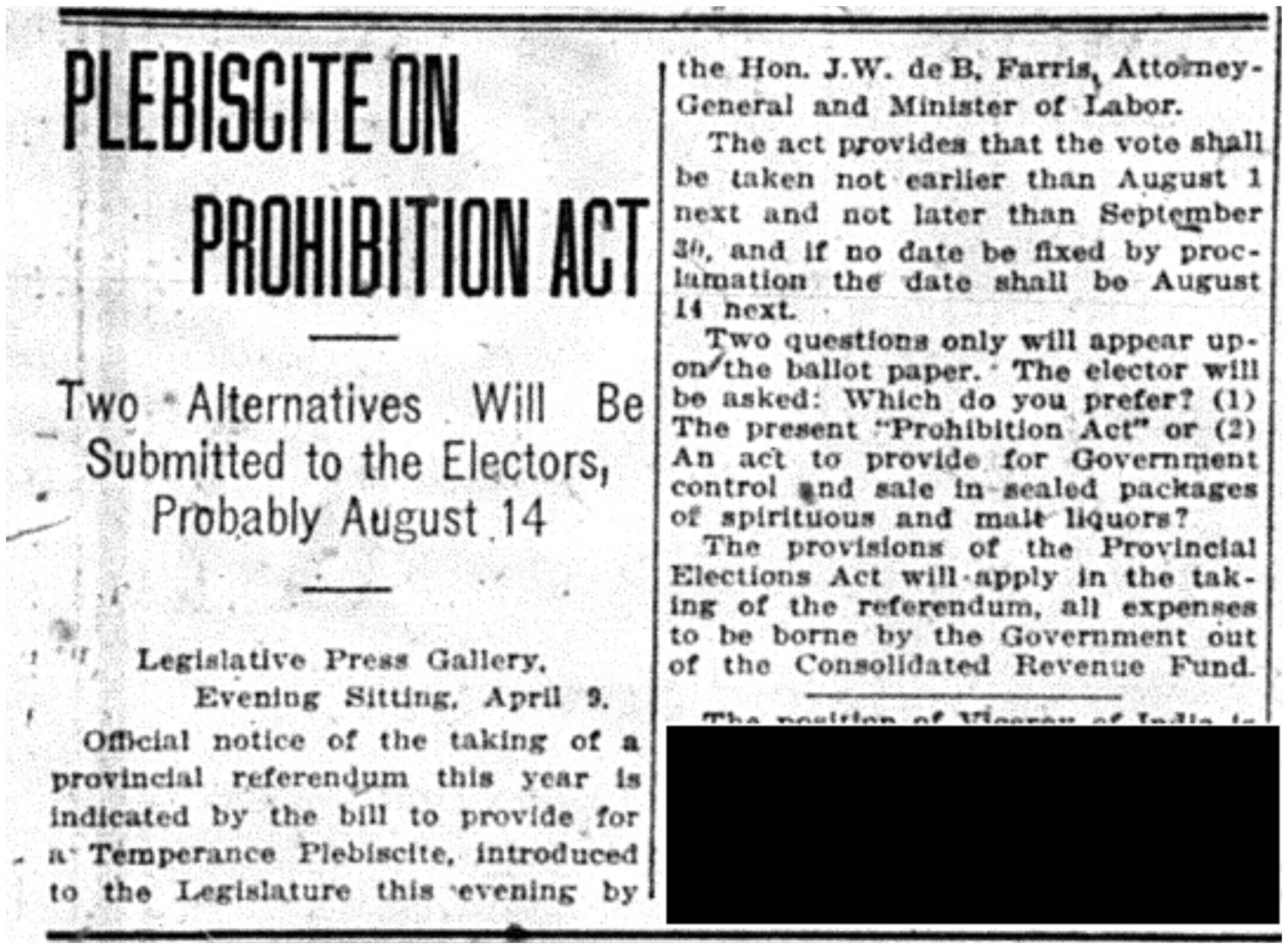 """Plebiscite on Prohibition Act"""