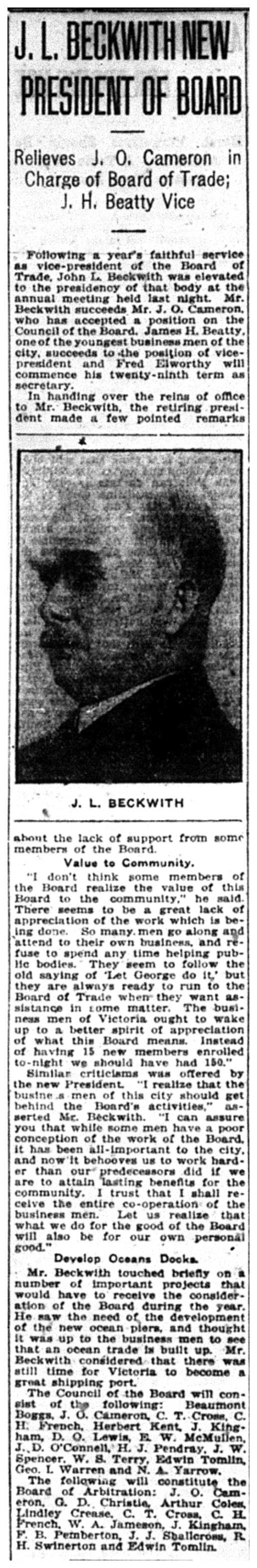 """J.L. Beckwith New President of Board"""