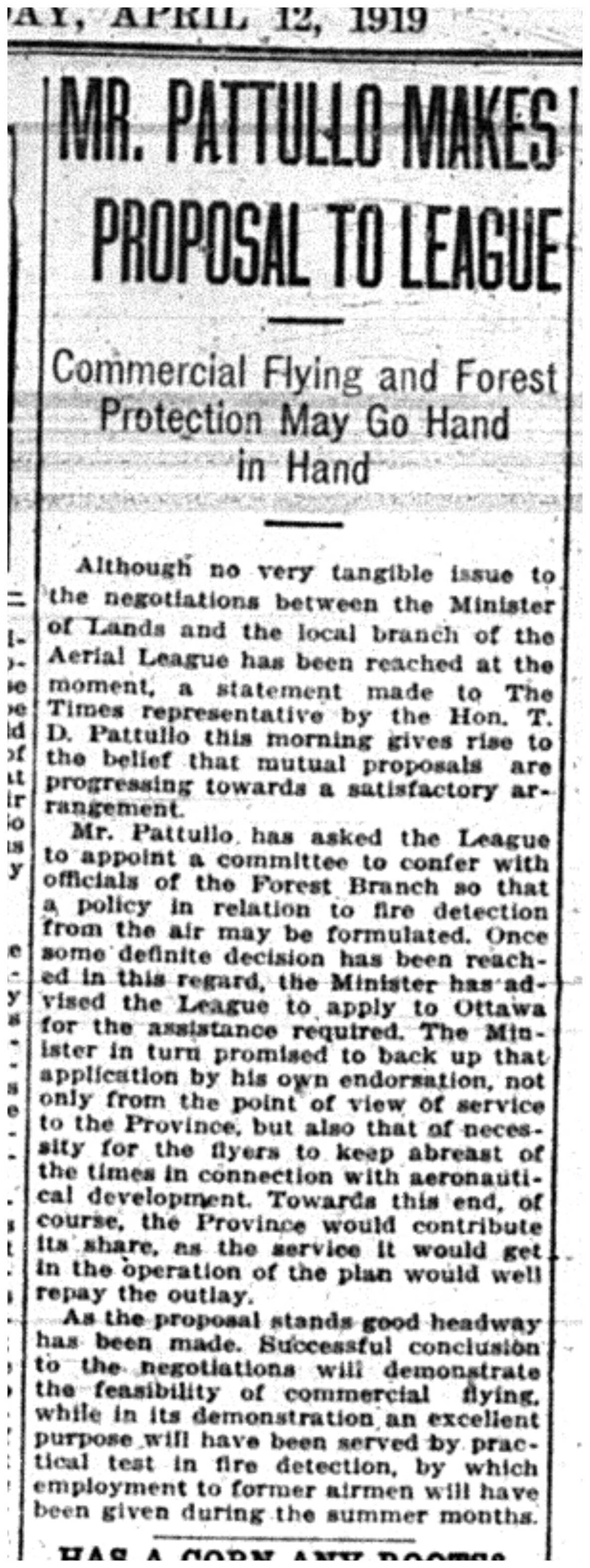 """""""Mr. Pattullo Makes Proposal to League: Commercial Flying and Forest Protection May Go Hand in Hand""""-"""