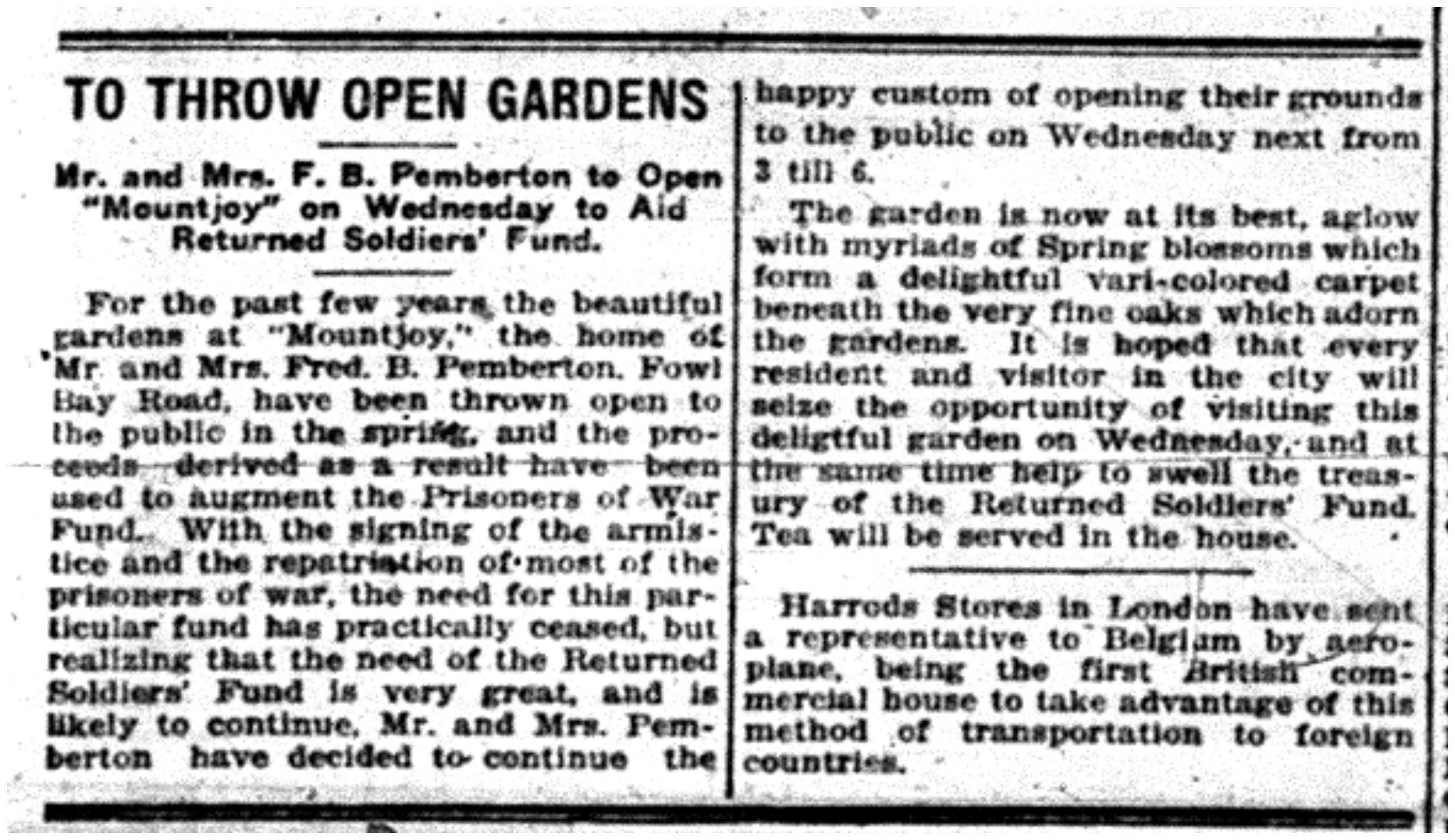 """To Throw Open Gardens"""