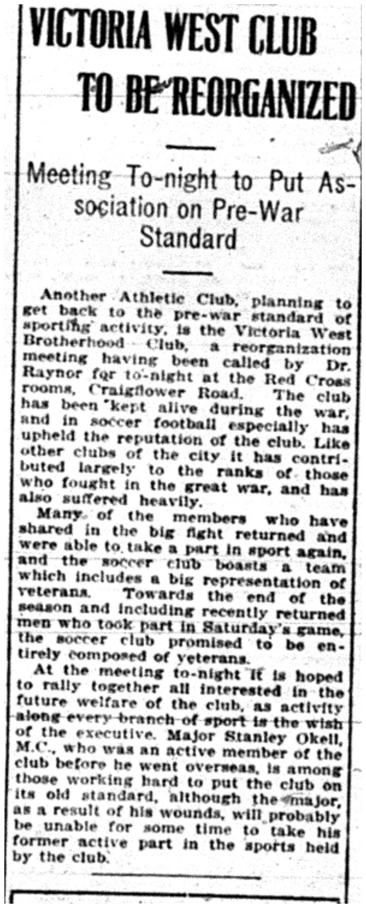 """Victoria West Club to be Reorganized"""