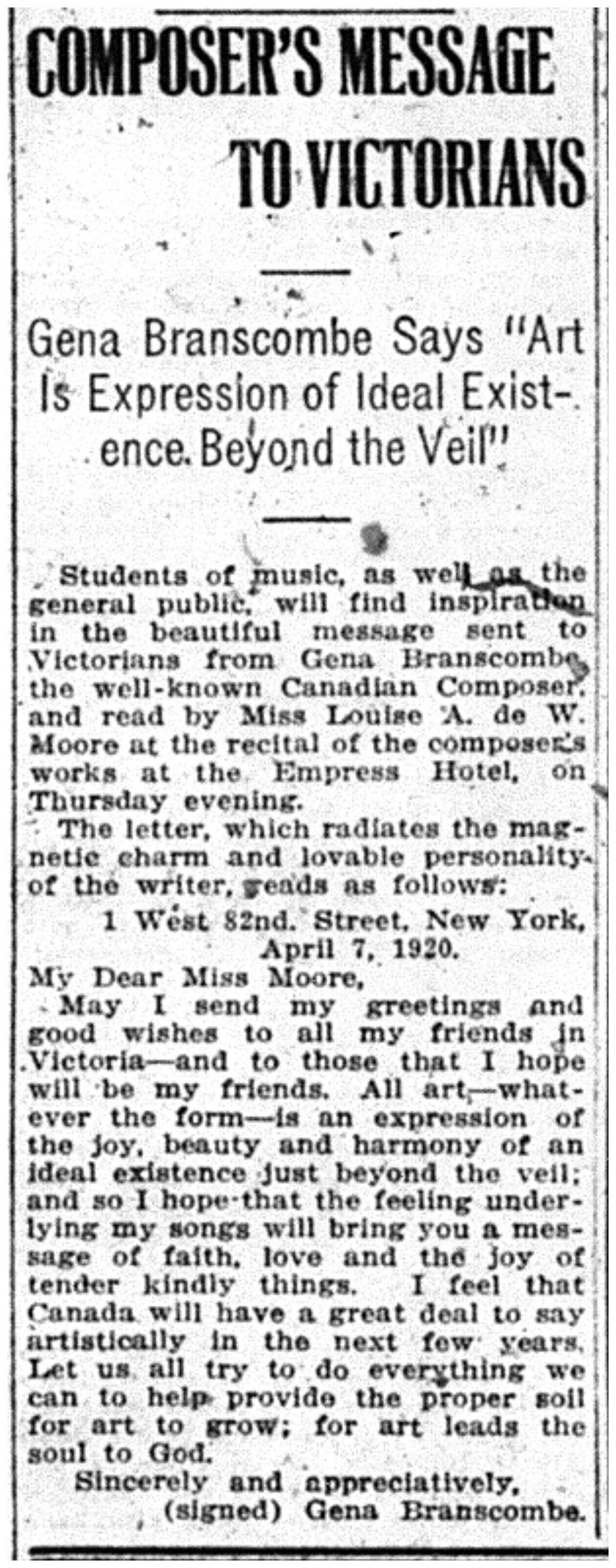 """""""Composer's Message to Victorians"""""""