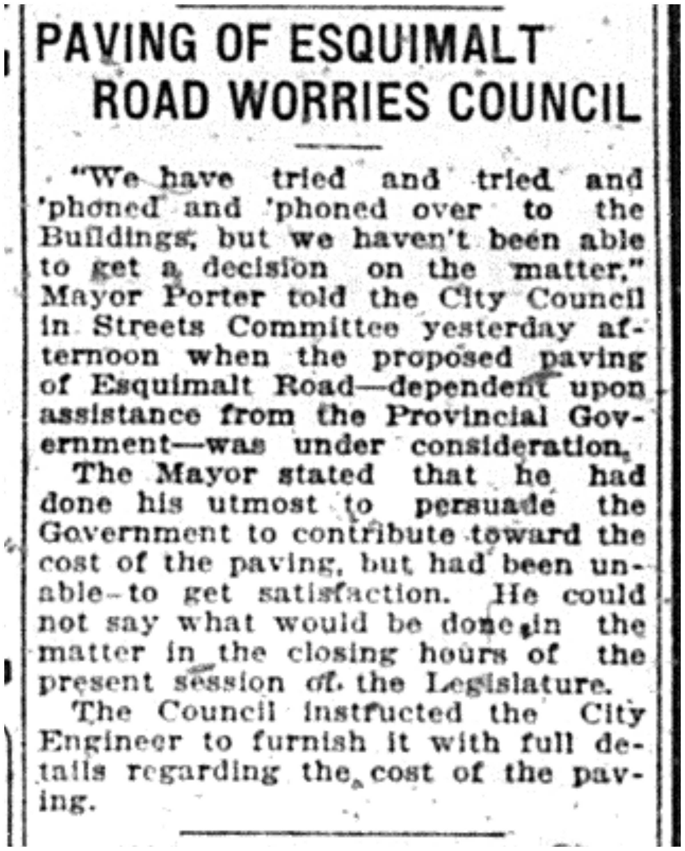 """""""Paving of Esquimalt Road Worries Council"""""""