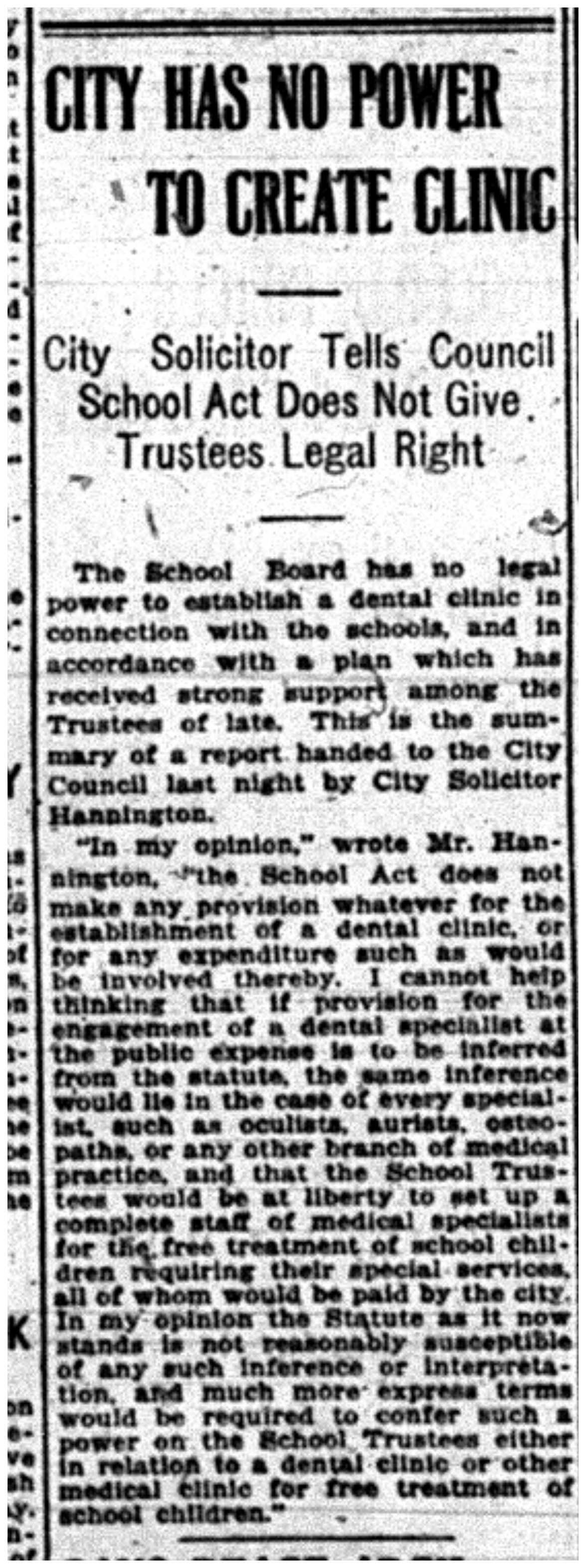 """City Has No Power To Create Clinic"""