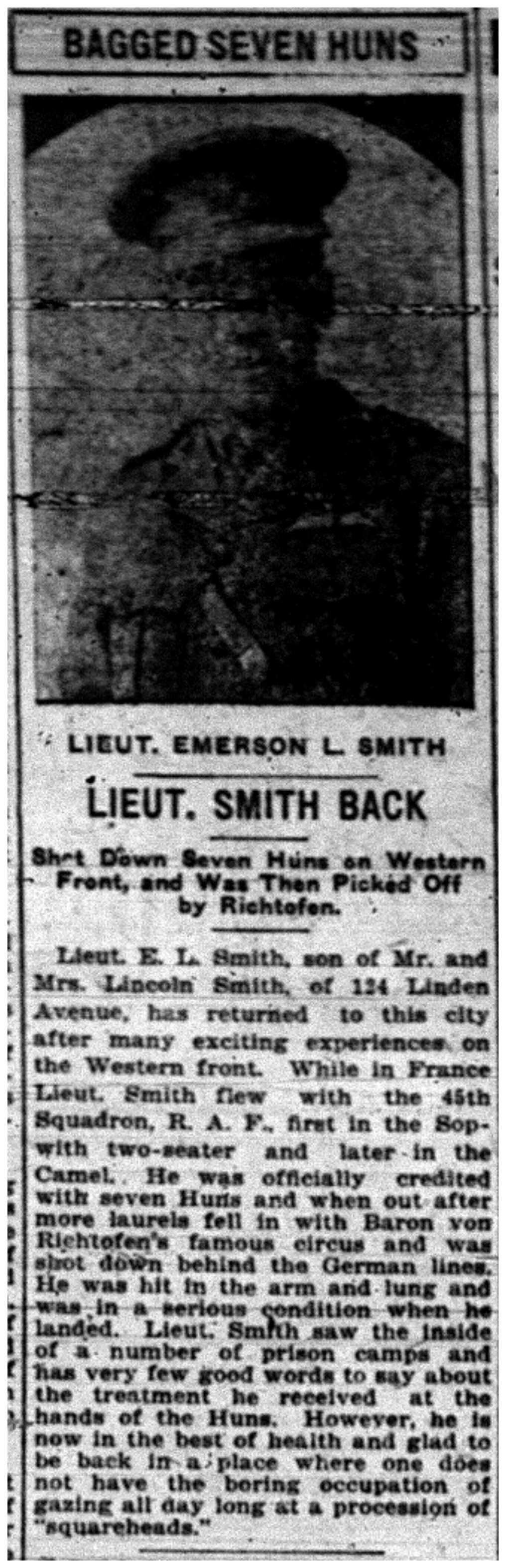 """Bagged Seven Huns: Lieut. Smith Back"""