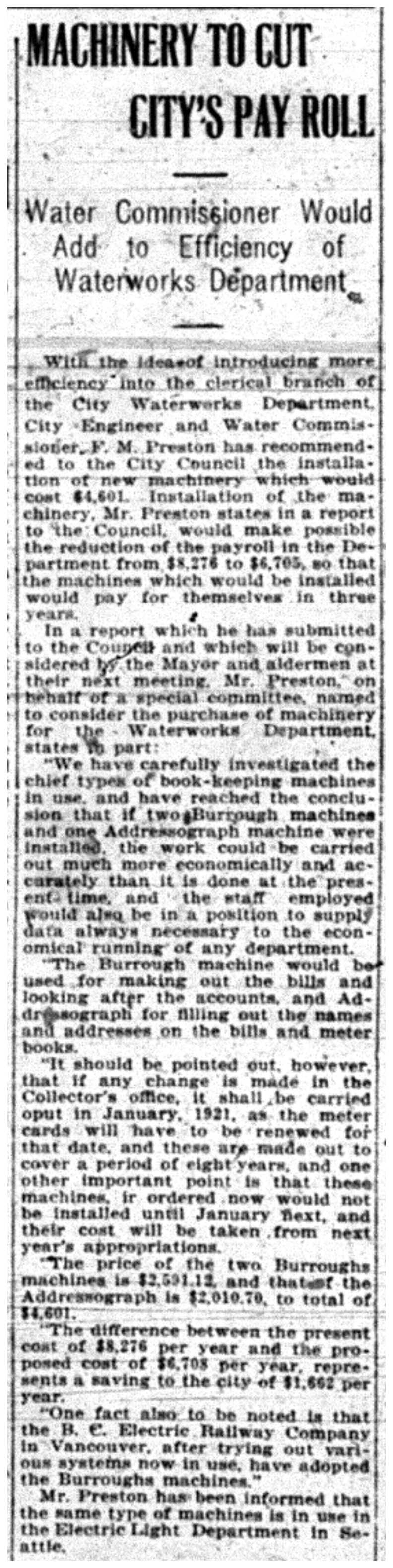 """""""Machinery To Cut City's Pay Roll"""""""
