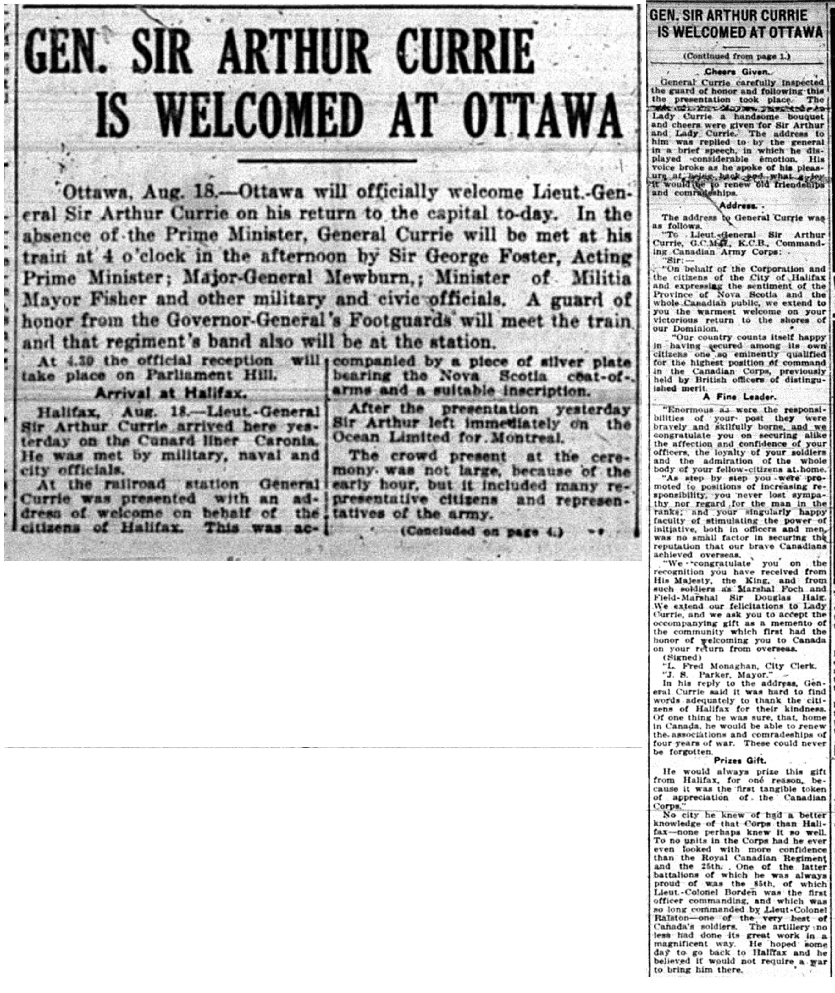 """Gen. Sir Arthur Currie Is Welcomed At Ottawa"""