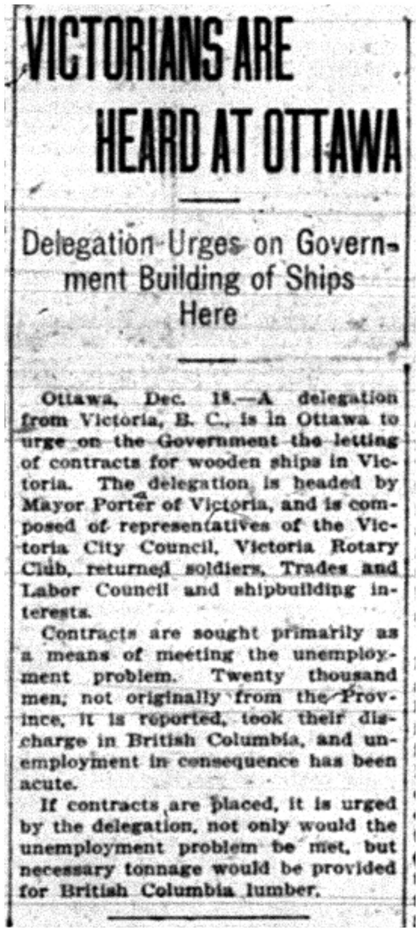 """Victorians Are Heard At Ottawa"""