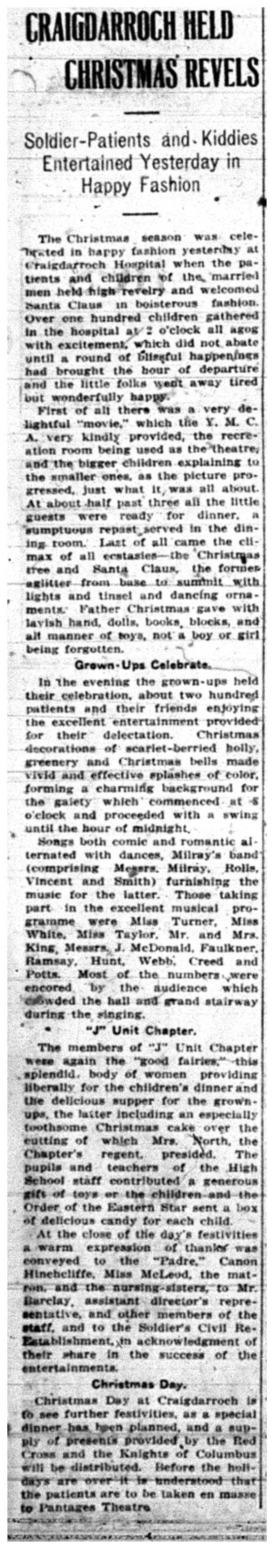 """Craigdarroch Held Christmas Revels"""